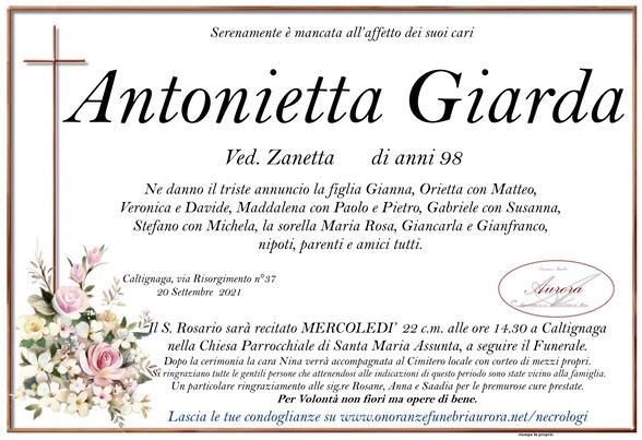 Necrologio di Antonietta Giarda ved. Zanetta