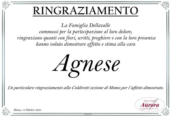 Ringraziamenti per Agnese Cupia in Dellavalle