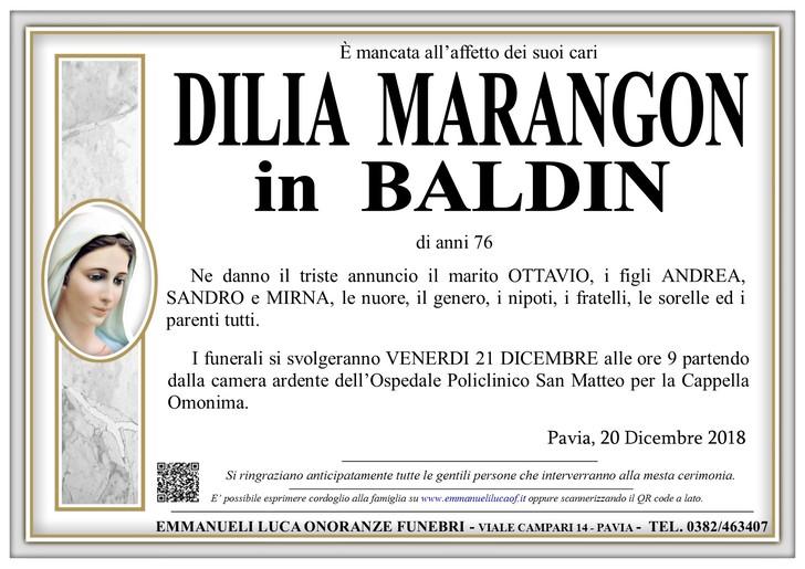 Necrologio di MARANGON DILIA in BALDIN