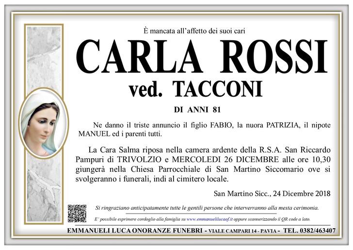Necrologio di ROSSI CARLA