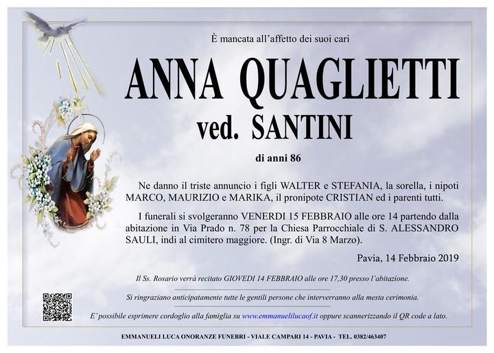 Necrologio di ANNA QUAGLIETTI ved. SANTINI