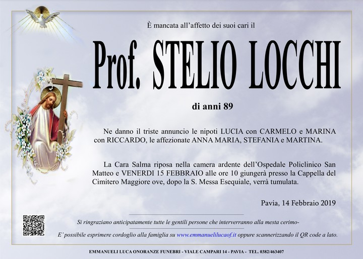Necrologio di Professor STELIO LOCCHI