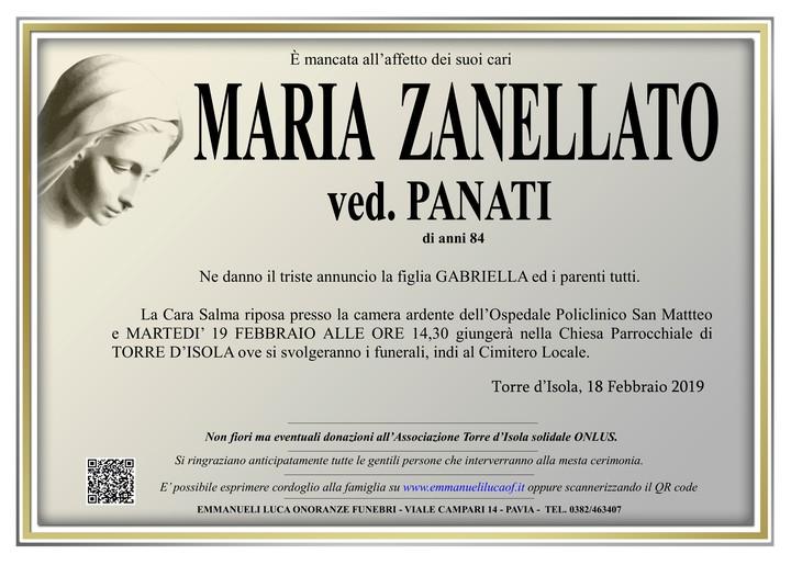 Necrologio di MARIA ZANELLATO