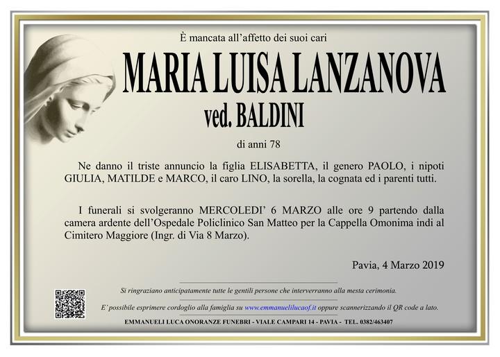 Necrologio di MARIA LUISA LANZANOVA