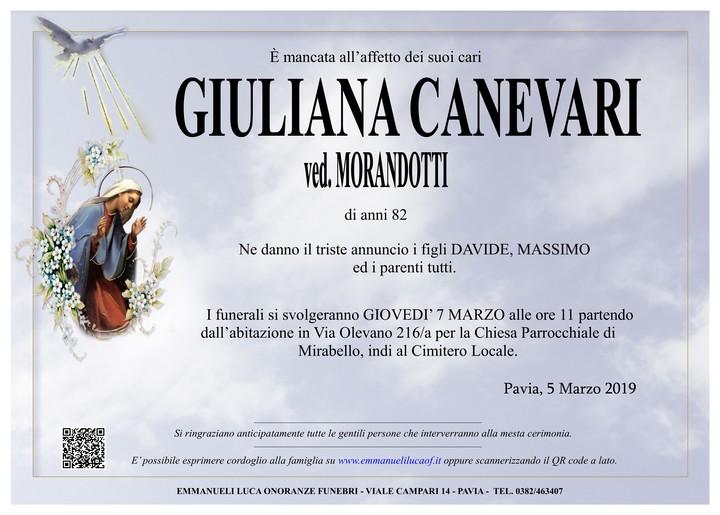Necrologio di GIULIANA CANEVARI