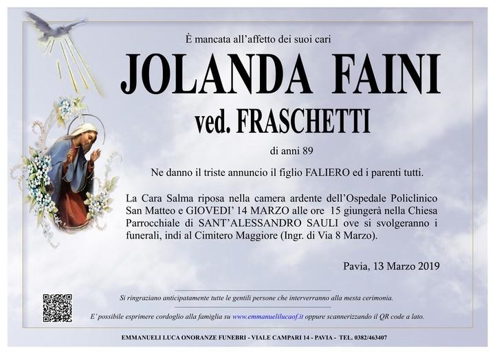 Necrologio di FAINI JOLANDA ved. FRASCHETTI