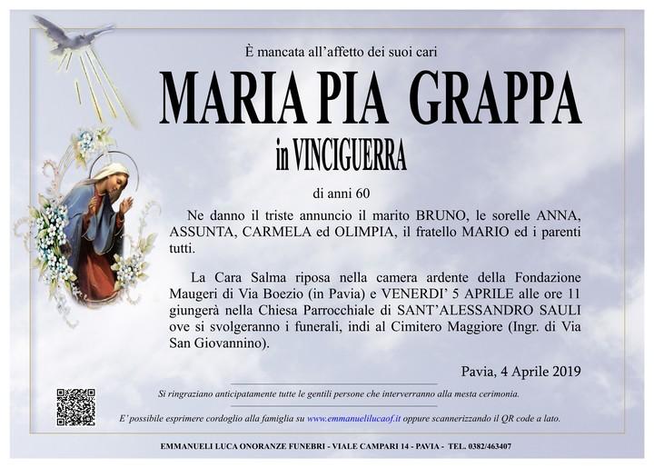 Necrologio di MARIA PIA GRAPPA in VINCIGUERRA