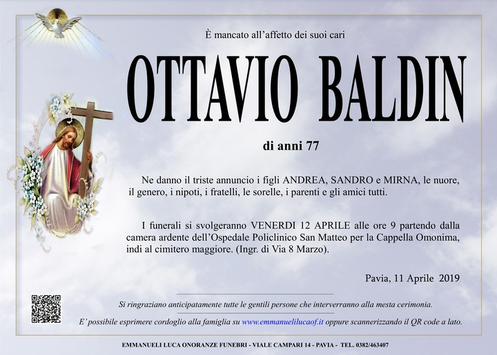 Necrologio di OTTAVIO BALDIN