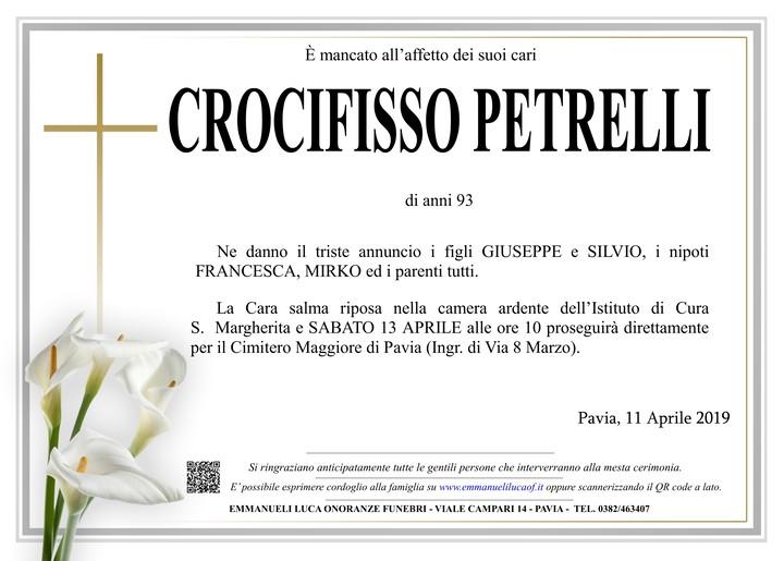 Necrologio di CROCIFISSO PETRELLI