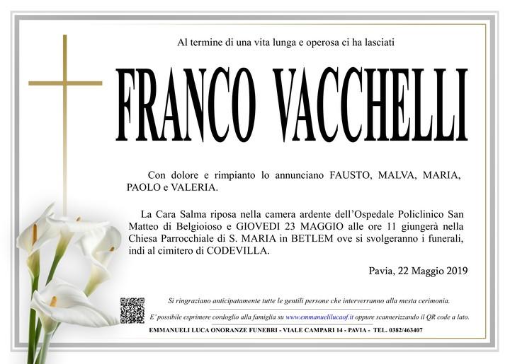 Necrologio di VACCHELLI FRANCO