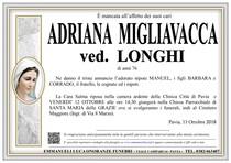 Necrologio di ADRIANA MIGLIAVACCA