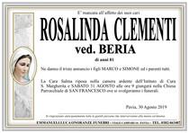 Necrologio di CLEMENTI ROSALINDA ved. BERIA