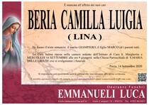Necrologio di BERIA CAMILLA LUIGIA (LINA)
