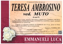 Necrologio di TERESA AMBROSINO Ved. MUTO