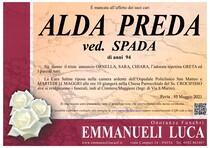 Necrologio di PREDA ALDA ved. SPADA