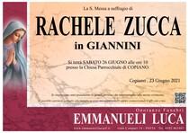 Necrologio di ZUCCA RACHELE in GIANNINI