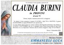 Necrologio di BURINI CLAUDIA in PROVINI