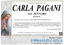 Necrologio di PAGANI CARLA ved. ZENNARO