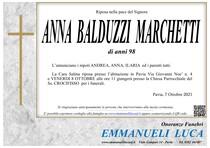 Necrologio di BALDUZZI ANNA CARLA