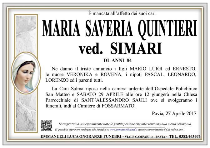 Necrologio di MARIA SAVERIA QUINTIERI ved. SIMARI
