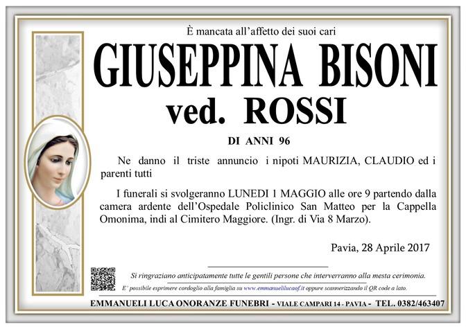 Necrologio di GIUSEPPINA BISONI ved. ROSSI