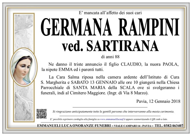 Necrologio di GERMANA RAMPINI ved. SARTIRANA