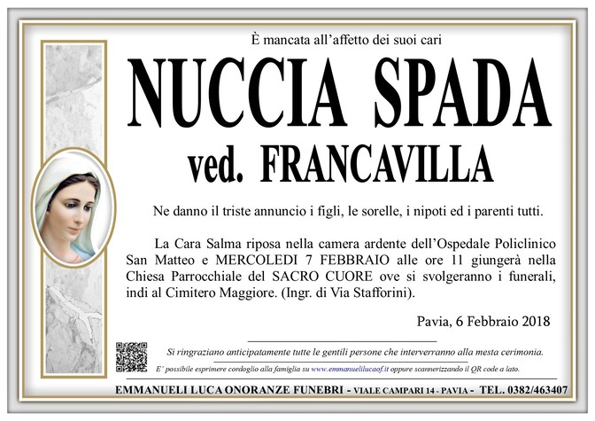 Necrologio di NUCCIA SPADA