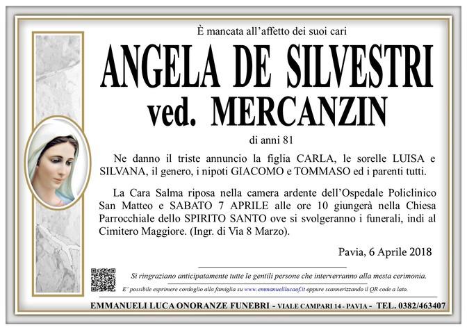 Necrologio di ANGELA DE SILVESTRI ved. MERCANZIN