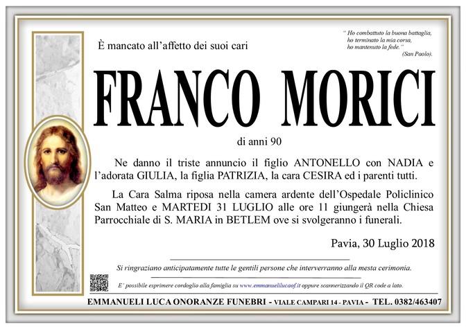 Necrologio di MORICI FRANCO