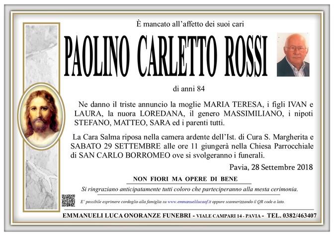 Necrologio di ROSSI PAOLINO CARLETTO