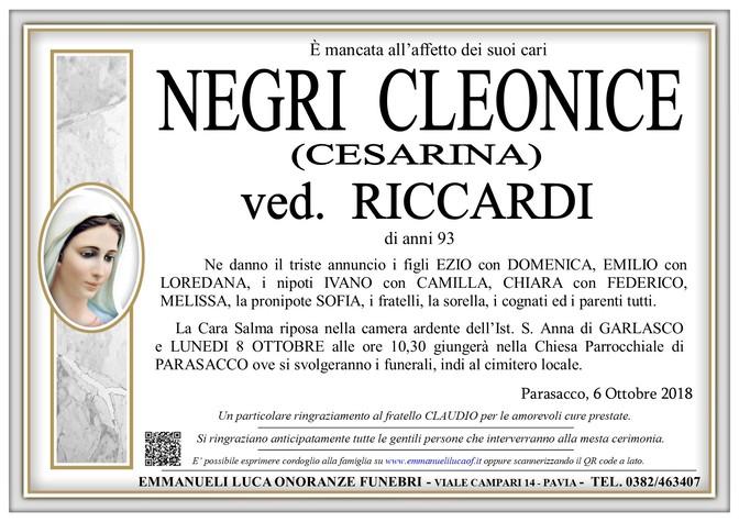 Necrologio di CLEONICE NEGRI