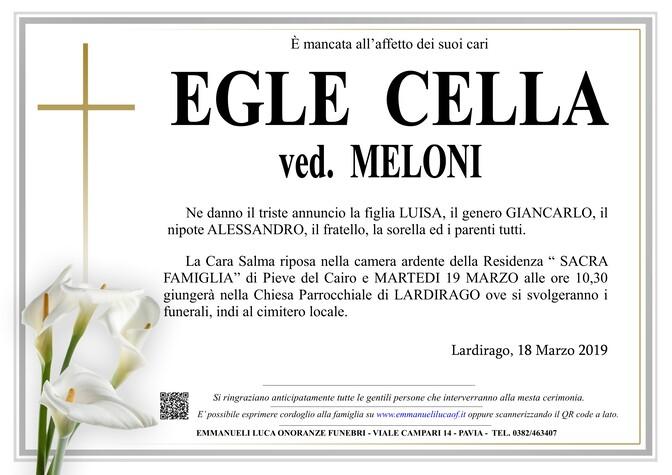 Necrologio di CELLA EGLE ved. MELONI