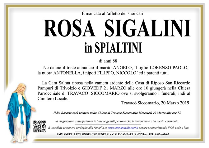 Necrologio di ROSA SIGALINI ved. SPIALTINI
