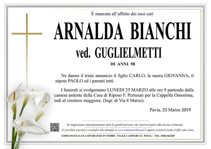 Necrologio di ARNALDA BIANCHI ved. GUGLIELMETTI