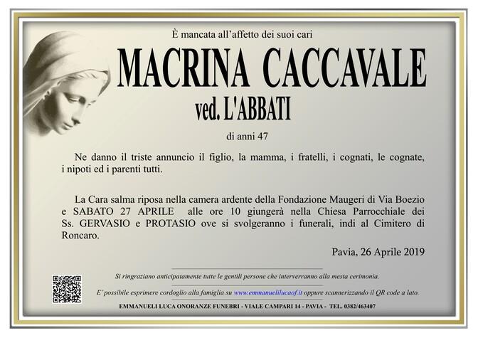 Necrologio di MACRINA CACCAVALE ved. L'ABBATI