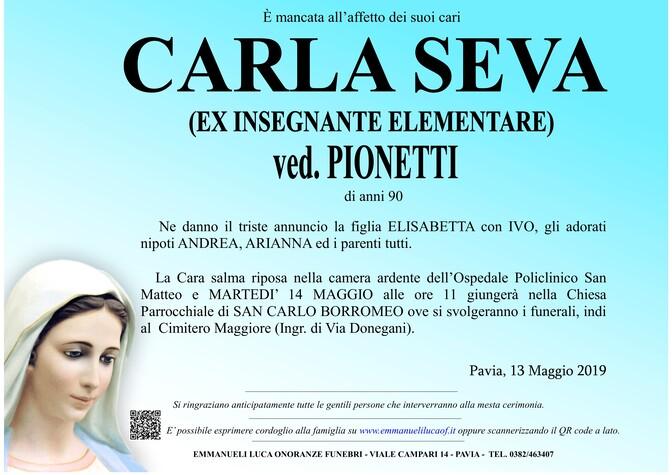 Necrologio di CARLA SEVA ved. PIONETTI (EX INSEGNANTE ELEMENTARE)