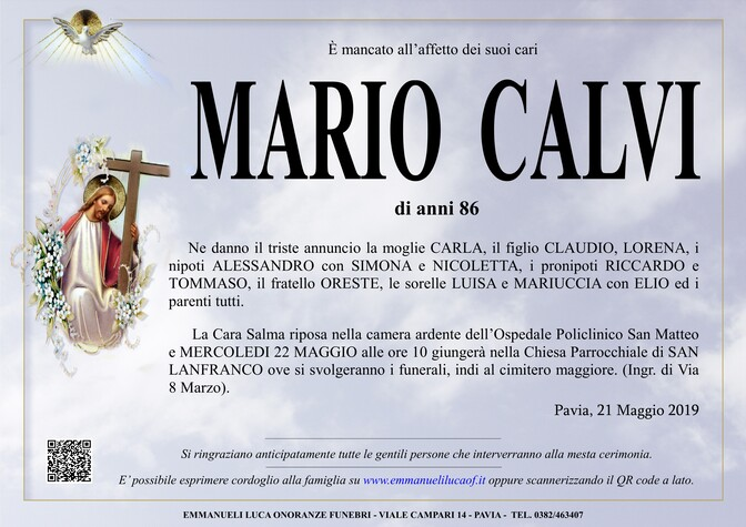 Necrologio di CALVI MARIO