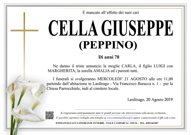 Necrologio di CELLA GIUSEPPE (PEPPINO)