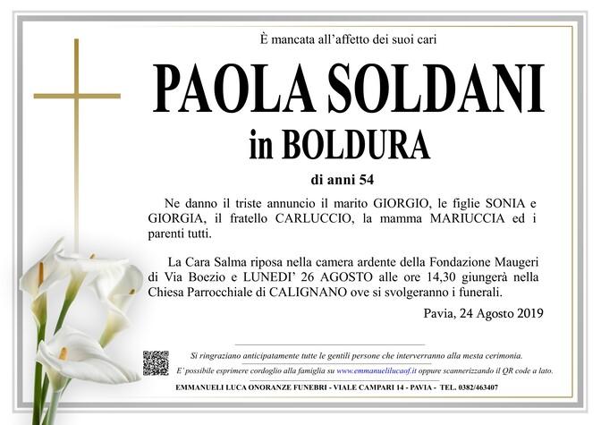 Necrologio di PAOLA SOLDANI in BOLDURA