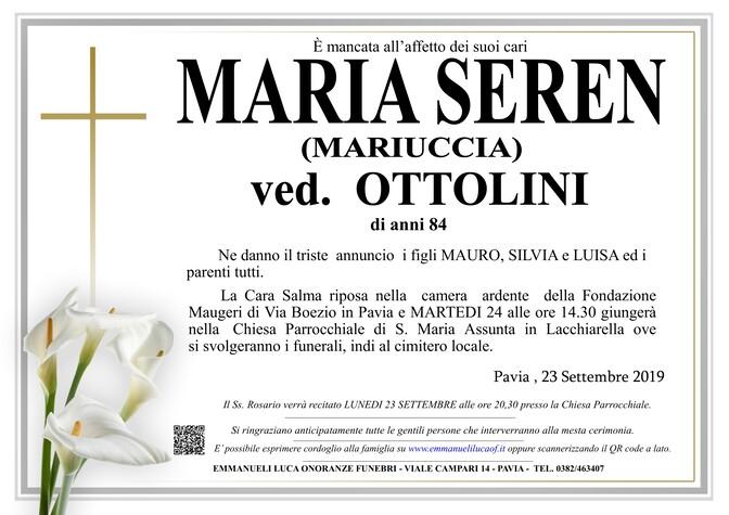 Necrologio di MARIA SEREN ( MARIUCCIA) ved. OTTOLINI