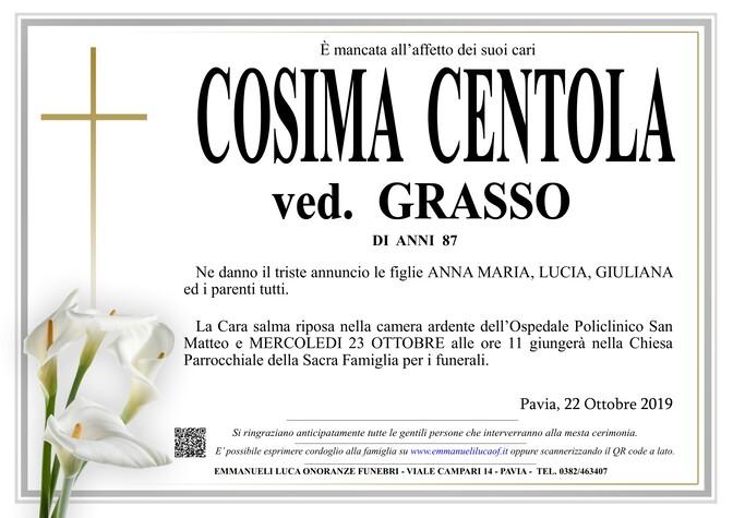 Necrologio di CENTOLA COSIMA ved. GRASSO
