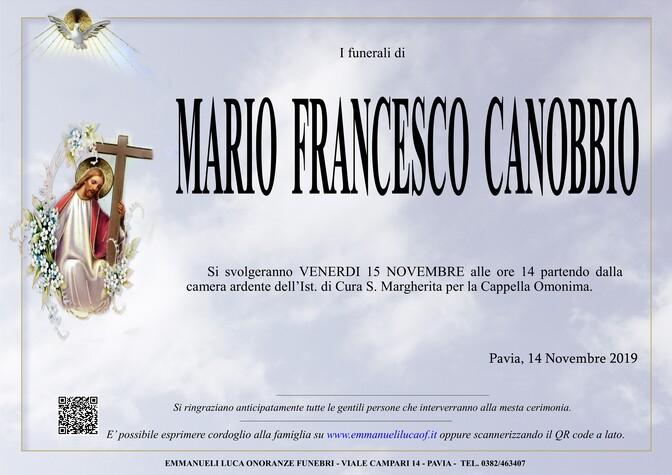 Necrologio di CANOBBIO MARIO FRANCESCO