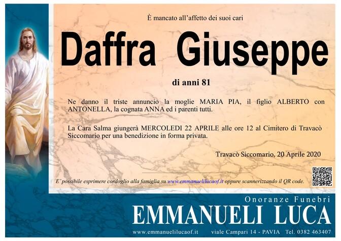 Necrologio di DAFFRA GIUSEPPE