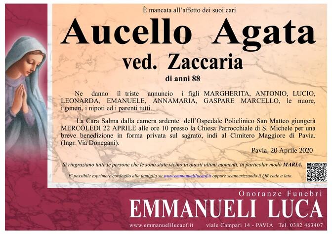 Necrologio di AUCELLO AGATA ved. ZACCARIA