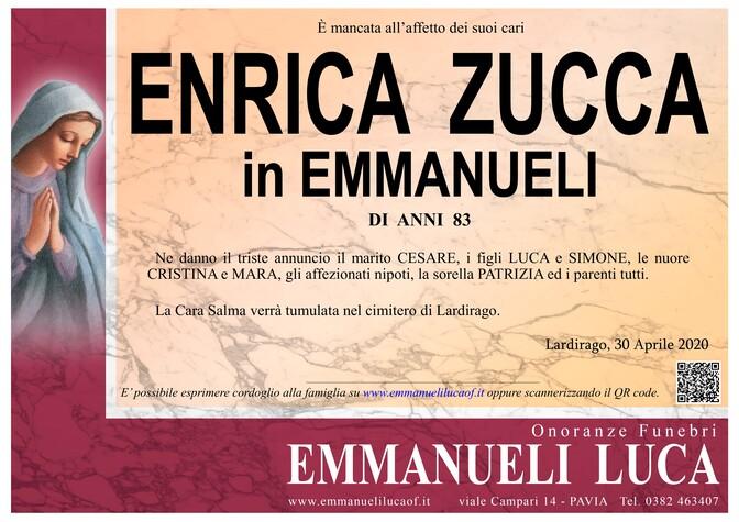 Necrologio di ENRICA ZUCCA in EMMANUELI