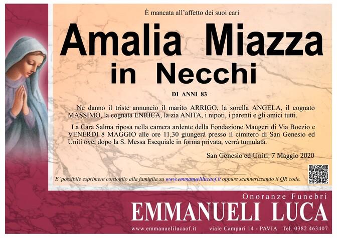 Necrologio di MIAZZA AMALIA in NECCHI