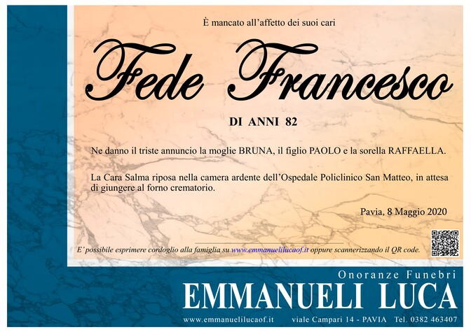 Necrologio di FEDE FRANCESCO