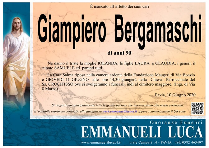 Necrologio di BERGAMASCHI GIAMPIERO