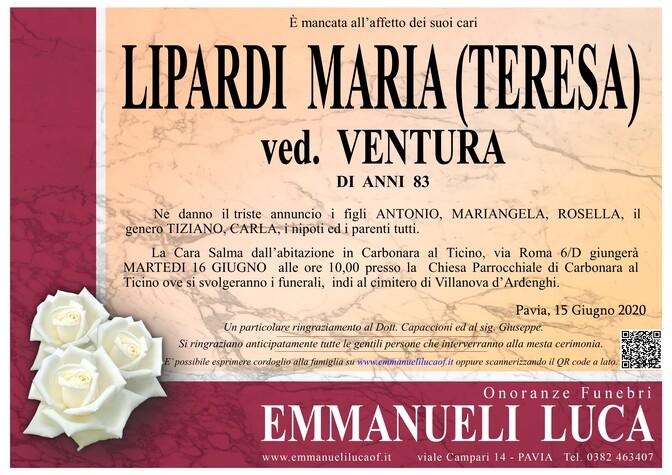 Necrologio di LIPARDI MARIA (TERESA)