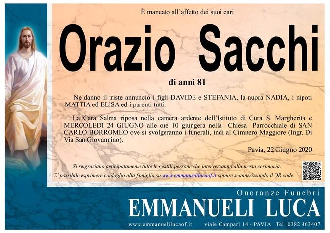 Necrologio di SACCHI ORAZIO